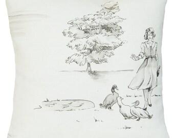 Ducks And Lady Cushion Cover Cream Decorative Throw Pillow Case Printed Linen Fabric Promenade Nina Campbell