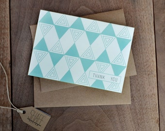 Triangle Pattern Thank You Cards - Simple Modern Note Cards - Mint thank you card set - Set of 3 cards