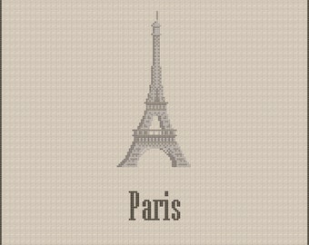Paris Eiffel Tower Cross Stitch Pattern