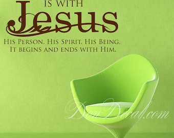 Bedroom Wall Art Sticker Vinyl Decor - Living Room Wall Art Quote Decal - Our Relationship is with Jesus...