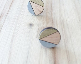 Hand Painted Laser Cut Wood Geometric Round Pattern Stud Earrings- Gold and Grey