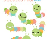 Colorful Catterpillars Digital Clip Art for Scrapbooking Card Making Cupcake Toppers Paper Crafts