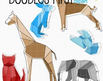 Polygonal Animals Digital Clip Art for Scrapbooking Card Making Cupcake Toppers Paper Crafts