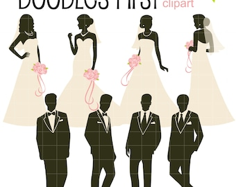 Bride and Groom Silhouettes Digital Clip Art for Scrapbooking Card Making Cupcake Toppers Paper Crafts