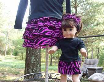 Cotton Stretch Knit Outfits for Girl and Doll/Pink and Black Zebra Skirt w Top/American Girl Doll Matching Outfit/Custom Doll Clothing/MTO