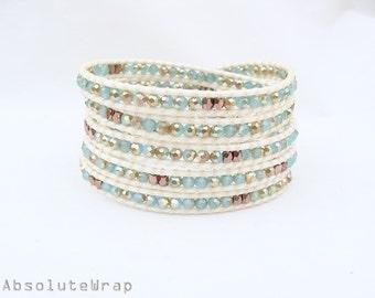 Mint crystal wrap bracelet with copper plated beads on ivory polyester cord, mint bracelet, crystal wrap bracelet, green, blue, gold