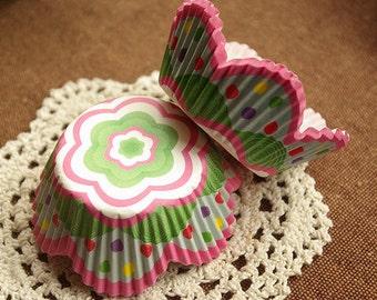 Rainbow Polka Dot Pink Floral Cupcake Liners (50)