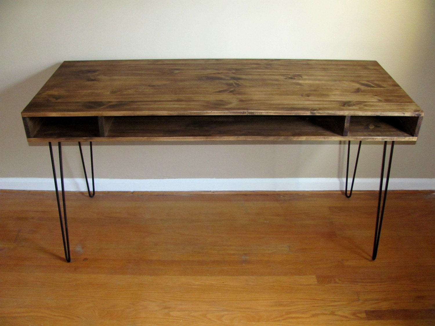 Rustic Desk With Hairpin Legs