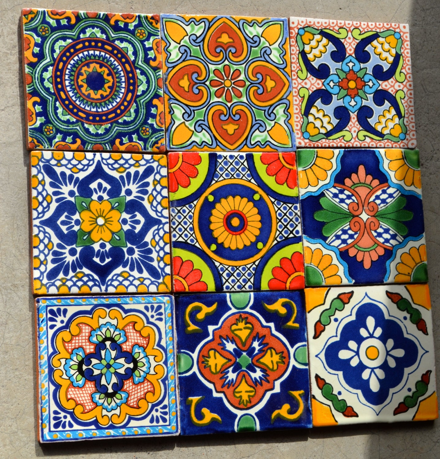 18 mexican talavera tiles hand made hand painted 4 x for Azulejo de talavera mexico