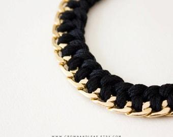 Black / Braided Chain Bracelet / Curb Chain / Woven Bracelet / Bridesmaid / Gold Chain Bracelet / Friendship Bracelet / Braided Bracelet