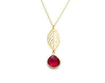 Leaf Necklace with Fuchsia Crystal, Wedding Jewelry, Graduation Gift, Bridesmaid Jewelry, Everyday Necklace