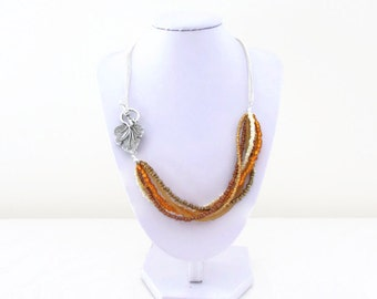 CLEARANCE Beaded necklace, autumn colours, gold bronze pearl orange bead and chain necklace, leaf t-bar necklace, handmade in the UK