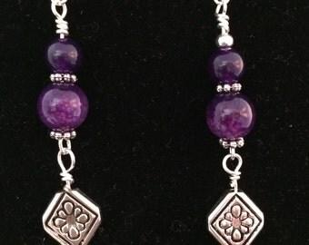 Beaded Amethyst Drop earrings