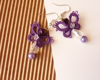 Perfect gift- Tatted earrings, purple butterflies
