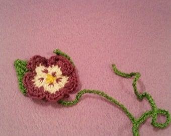 Purple Pansy Flower Crochet Bookmark
