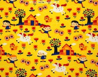 SALE Lillestoff Organic Jersey Cotton GOTS  certified organic fabric with Happy girls Knit Fabric