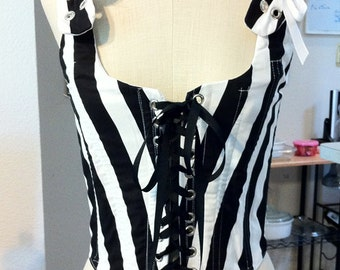 Black and white stripe 18th century style gothic pirate wench bodice S M L XL or Custom Steel Boned
