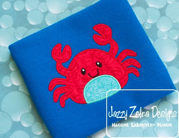 Crab Applique embroidery Design - crab Applique Design - beach Appliqué Design - summer Applique Design