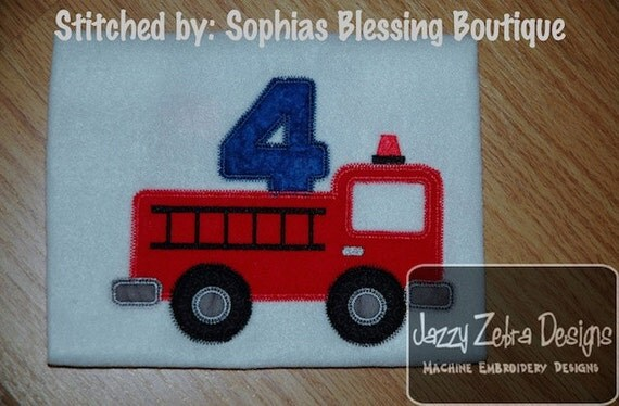 Four Firetruck Appliqué Embroidery Design with Diagonal Square Stitching - 4th birthday appliqué design - 4 year old