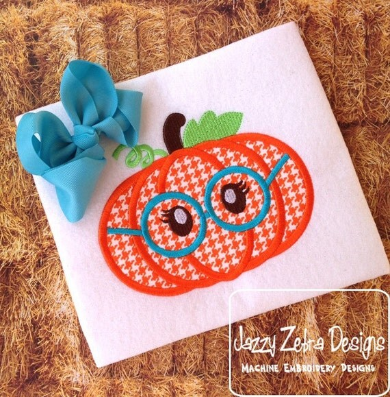 Pumpkin Girl wearing glasses Appliqué embroidery Design - pumpkin Appliqué Design - halloween Appliqué Design - fall Appliqué Design - girl