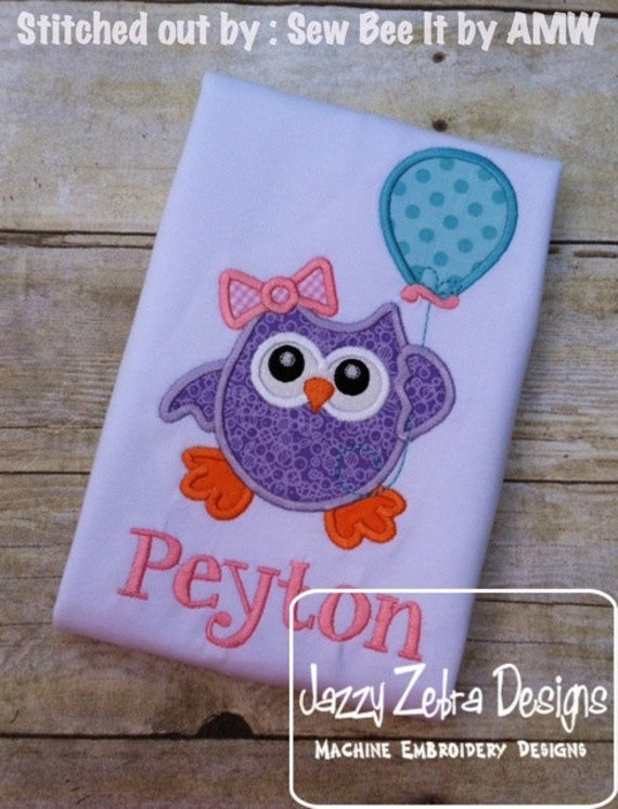 Owl holding Balloon Appliqué Embroidery Design - Birthday appliqué design - Owl appliqué design