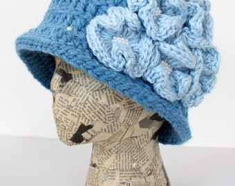 Sky Blue Crocheted Cloche with Flower Cluster and Pearl Accents, Wool/Acrylic