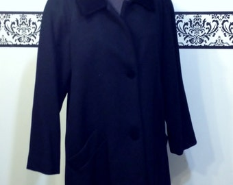 1980's Women's Fine Black Wool Coat with Velvet Collar by Forecaster of Boston, Size 22W / Plus Size,  Vintage Hollywood Jacket