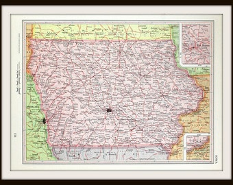 Iowa Map, Midwest USA Map, United States Collectible 1962 Map, Antique Historical Map, Paper Ephemera, Ready to Frame