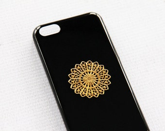 Hippie Case iPhone 5c Phone Black Gold Cases Vintage Hippie Manda Gift Idea for Him or Her Birthday Present Party Favor Gold Hipster Case