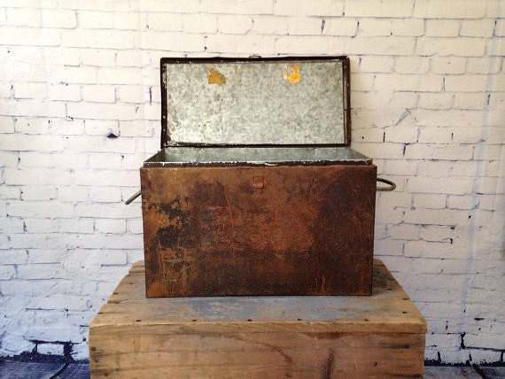 Antique Ice Chest Vintage Metal Insulated Cooler