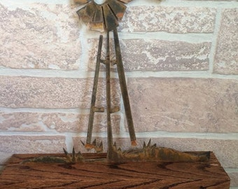 Metal Windmill set in a Wood Base - Home Decor - Table decoration