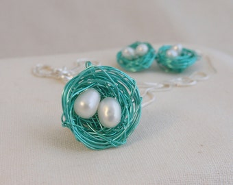 Birds Nest Necklace and Earrings Set with Sterling Silver and Freshwater Pearls  # 138