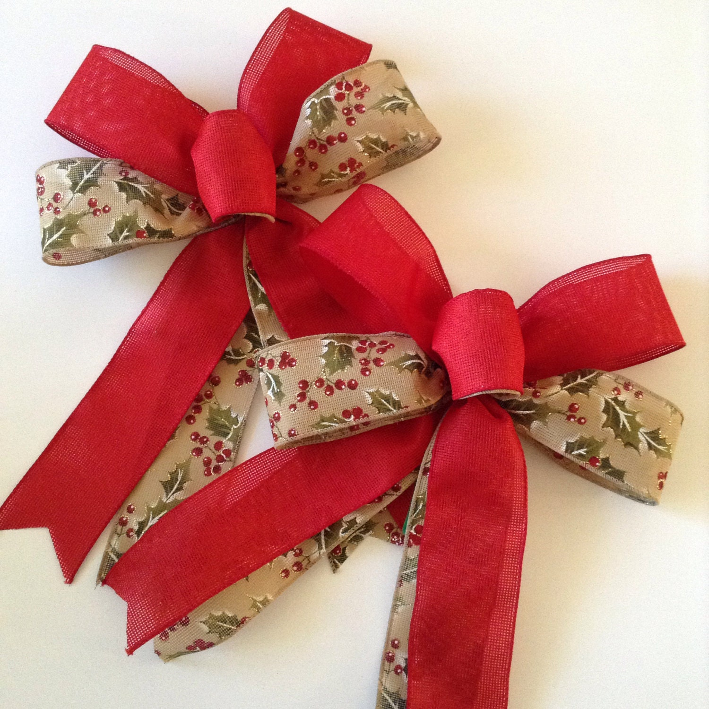 Christmas Burlap Bows / Christmas Tree Decorative Bows