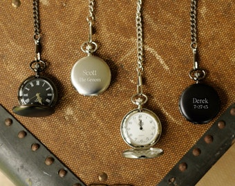 Engraved Pocket Watch - Personalized Pocket Watch - Monogrammed Pocket Watch - Groomsmen Gift - Gifts for Him - Husband Gifts