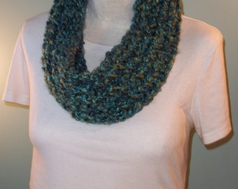 Blue and Green Cowl - Blue and Teal Cowl, Woman's Knit Cowl, Neck Warmer, Knit Cowl - Ready to Ship