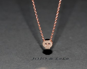 Skull necklace, silver skull necklace, gold skull necklace, Rose gold skull necklace, minimalist necklace, simple necklace