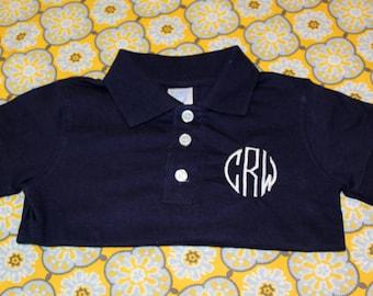 Monogrammed Short Sleeved Polo Collared Onesie