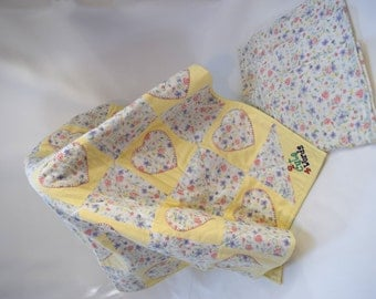 Handmade Quilted Baby Blanket Yellow Flannel Baby Quilt -  2 Cute 4 Words Baby Blanket Baby Gift