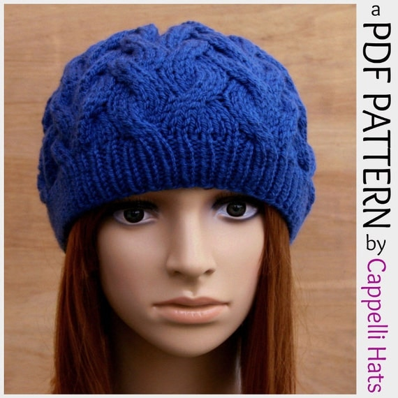 PDF Knitting Pattern Womens Cable Beanie Hat by CappelliHats
