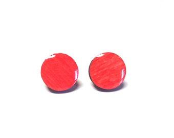 Coral earrings, Wood stud earrings. Round wood earrings, Wood studs, Wood earrings, Salmon round earrings