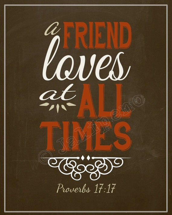Family And Friends Quotes In Bible: Items Similar To A Friend Loves At All Times