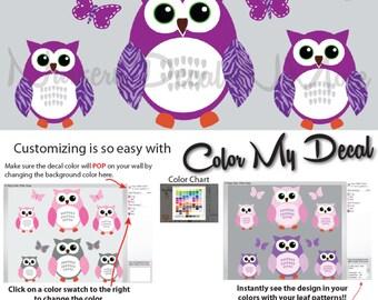 6 Purple Owl Sticker, Girl Owl Wall Decals (6 Purple Green) 6ROO