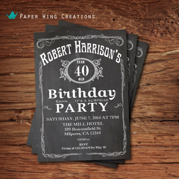 40th birthday invitation for men by thepaperwingcreation for 40th birthday decoration ideas for men