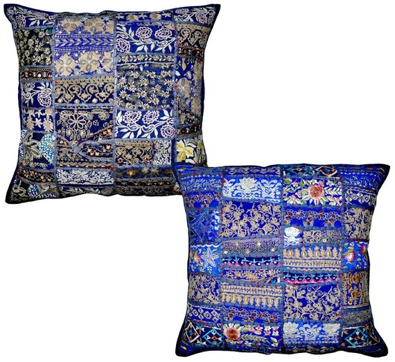 Royal Blue Outdoor Throw Pillows : 2pc Royal/Navy blue Patchwork Decorative Throw by BeingGypsy