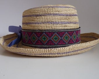Handwoven Toquilla Straw Hat Boater Natural and Periwinkle Lisu Hilltribe CrossStitch Band