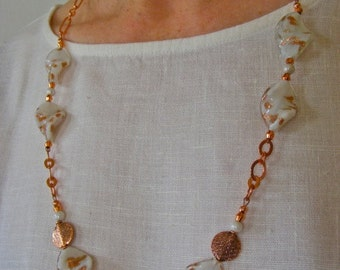 Chunky White and Copper Art Glass Necklace