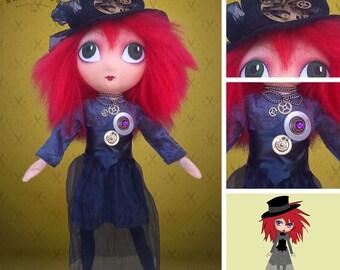 Steampunk doll - Yve, gothic, dark rag doll
