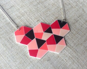 Geometric necklace - Pink necklace - Geometric pendant - Geometric jewellery - Summer necklace - Quirky necklace