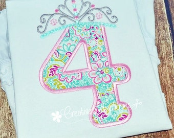 Princess Crown Birthday  Number 4 Machine Embroidery Applique Design 4 Sizes, 4 crown applique, 4th birthday crown applique, fourth birthday