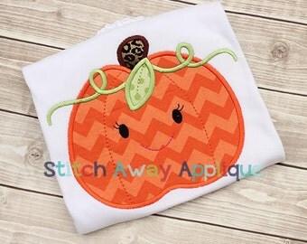Halloween Fall Pumpkin Lady Machine Applique Design